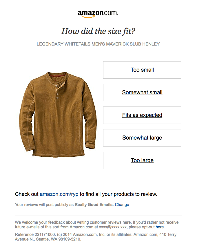 Customer feedback email from Amazon