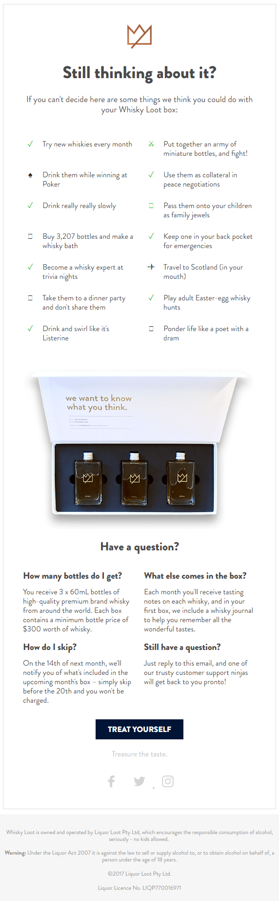 Humor in email marketing - Whisky Loot