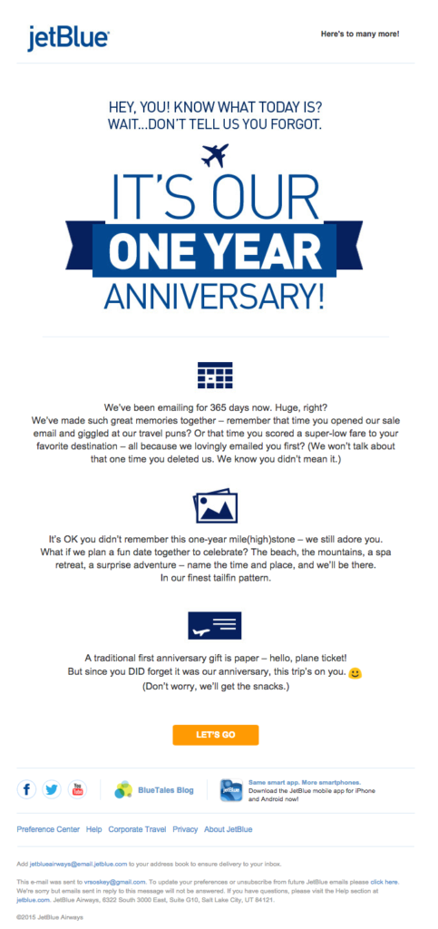 Email Personalization - JetBlue