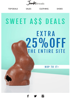 Easter email campaign inspiration - Jack Threads