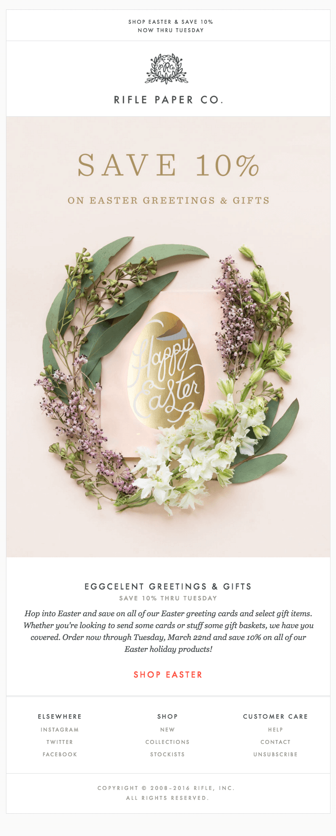 Easter email campaign inspiration - Rifle Paper Co.