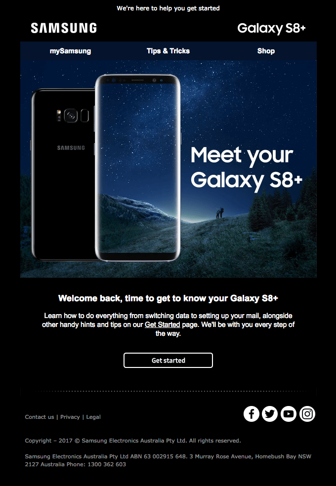 Samsung - Post-purchase email
