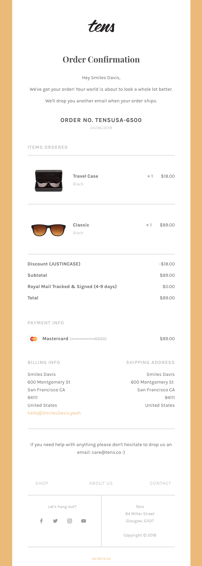 Tens - Post-purchase email