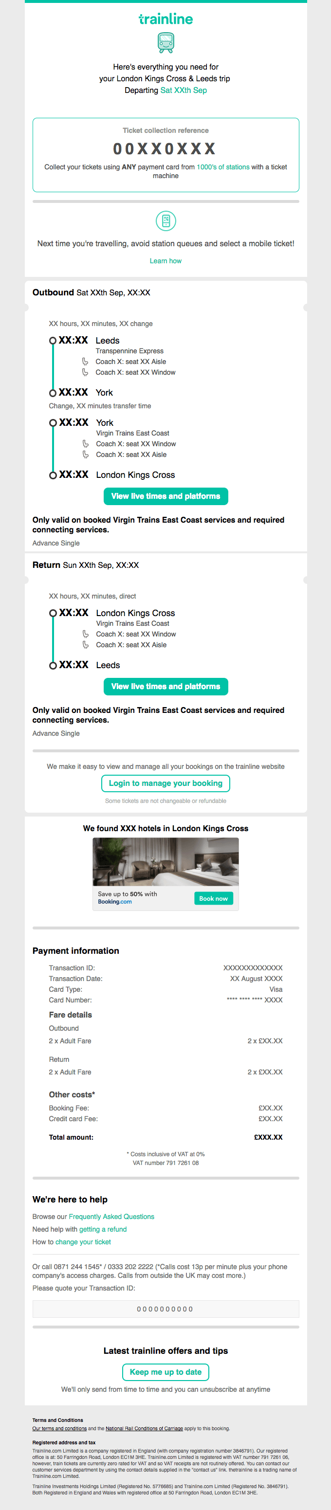 Trainline - Post-purchase email
