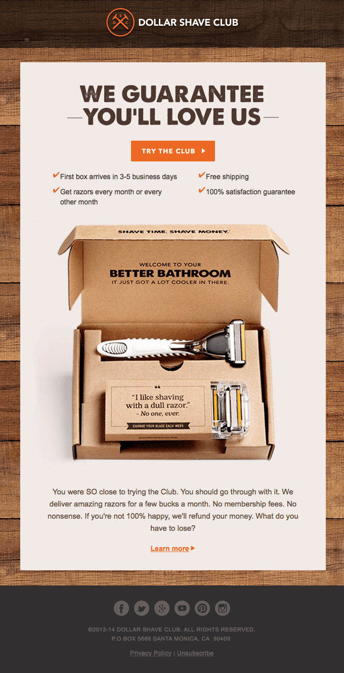 Cart abandonment email - Dollar Shave Club