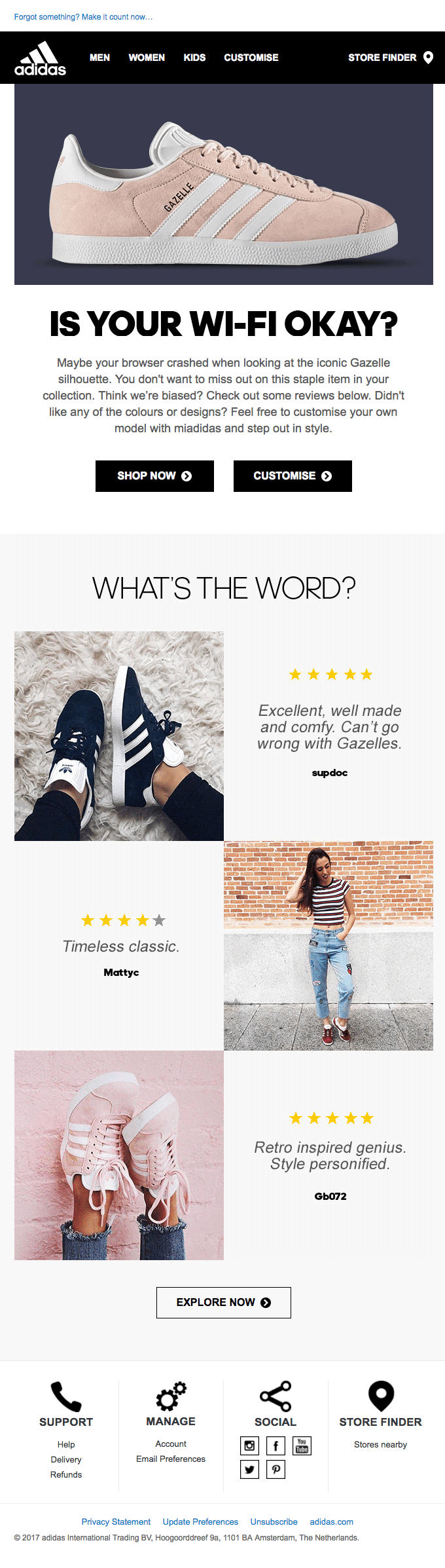 Browse abandonment email - Adidas