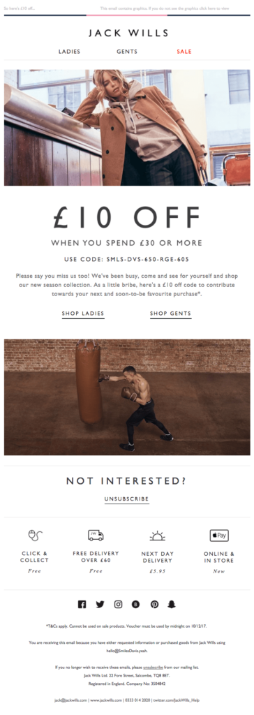 Re-engagement email - JackWills