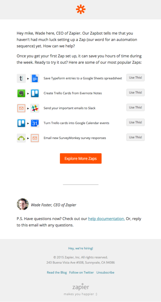 Re-engagement email - Zapier