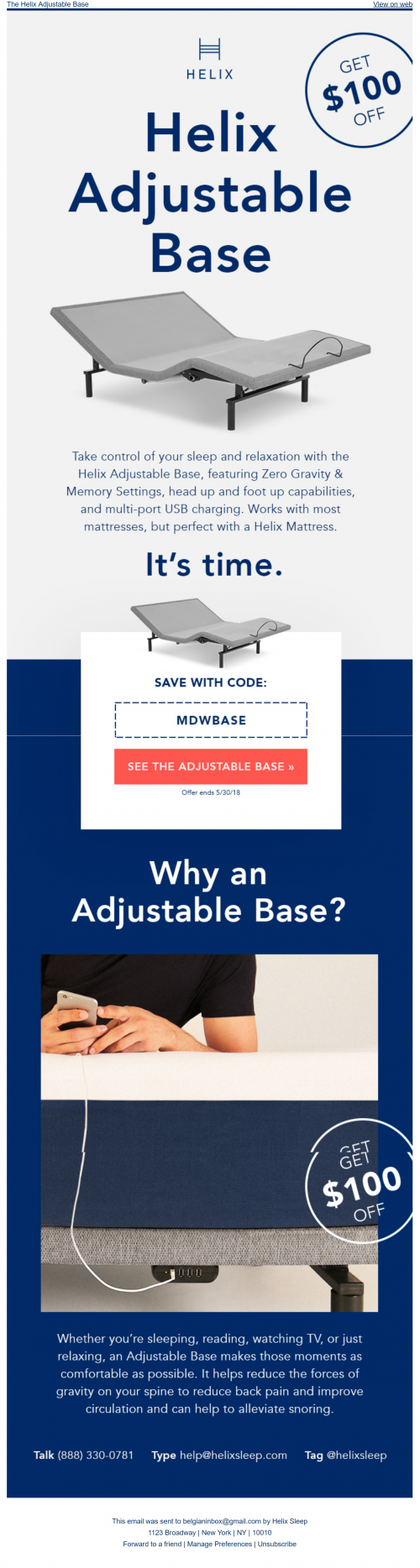 Product launch email - Adjustable base